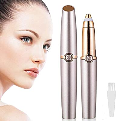 Eyebrow Hair Remover,Painless Trimmer for Women,Portable Eyebrow Hair Removal Razor with Light,Ladies Automatic Shaver for Eyebrow/Facial Hair/Lip/Chin(Without Battery) from MISCOOK