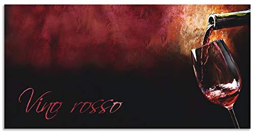 Artland Spritzschutz Küche aus Alu für Herd Spüle 110x55 cm Küchenrückwand mit Motiv Spruch Getränke Wein Rotwein Italien Kunst Bordeau