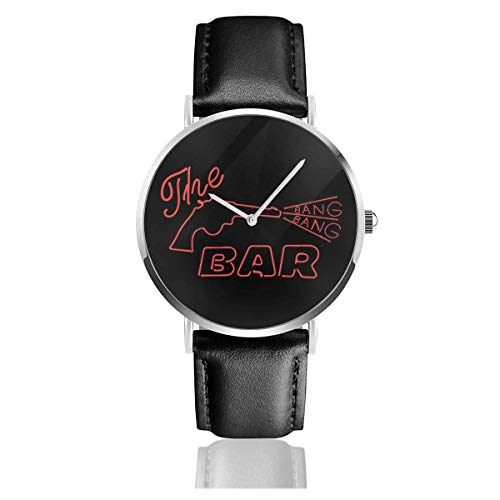 Unisex Business Casual The Bang Bang Bar Letreros de neón Road House Relojes Reloj de Cuero de Cuarzo
