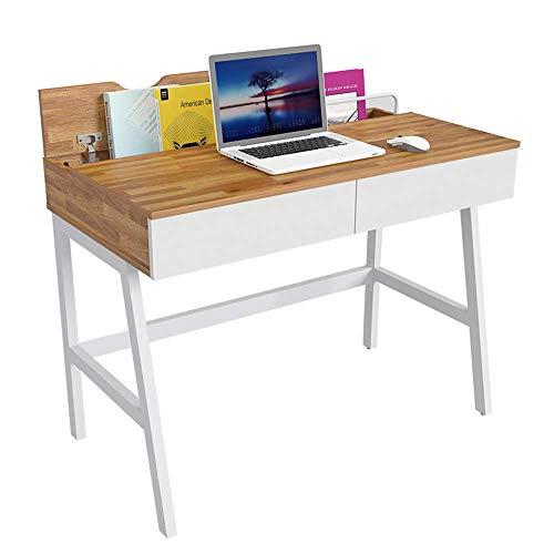 Carl Artbay Huis&Geselecteerd meubilair/Nordic Huishoudelijke Desktop Computer Bureau Leren Bureau Met 2 Laden Werkbank Office Table (Kleur : B, Maat : 100CM)