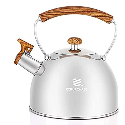 Tea Kettle for Stovetop Whistling Tea Pot, Food Grade Stainless Steel Teakettle Tea Pots for Stove Top, 2.6QT(2.5-Liter) Capacity with Capsule Base by ECPURCHASE