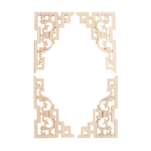 MUXSAM Wood Carved Applique Corner Onlay (15x10cm/5.914'x3.94') Frame Decal for Furniture Cabinet Door Bed Dresser Mirror(4-Pack)
