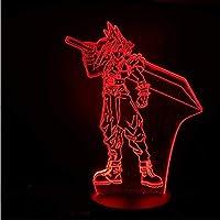 3D LED錯視ランプ USBナイトライト装飾男の子子供キッズベビーギフトファイナルファンタジー7テーブルランプベッドサイドネオン