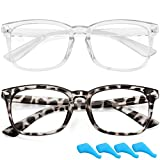 Kids Blue Light Blocking Glasses Clear Lens for Boys Girls Computer Glasses Anti Eyestrain Non-Prescription Fake Glasses Frame (Grey Leopard+Clear)