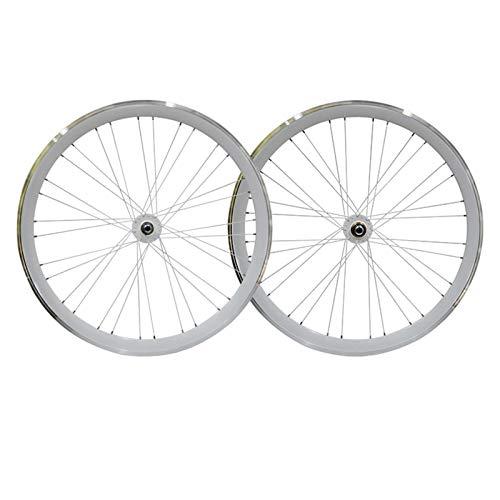 LICHUXIN Oksmsa 700C Bicicletta A Scatto Fisso Set Di Ruote 40mm Bici Fixie Anteriore E Posteriore Ruote Lega Di Alluminio Freno A V Retromarcia Freno Inverso (Color : White)
