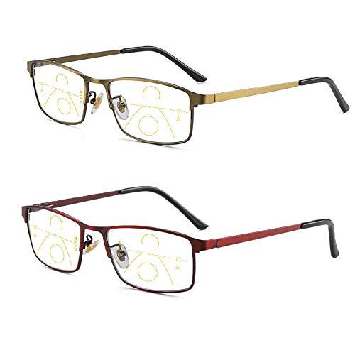 2 Paar Progressive Multi-Fokus-Computerlesebrillen FüR MäNner Und Frauen, Anti-Blaulicht- Und Sehhilfen-Brille Mit AugenermüDung, EinschließLich Computerleser +2.0-+3.0
