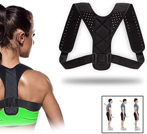 QUNPON Geradehalter zur Haltungskorrektur für eine Gesunde Haltung, ideal zur Therapie für haltungsbedingte Nacken, Rücken und Schulterschmerzen Damen Herren (Black_01)