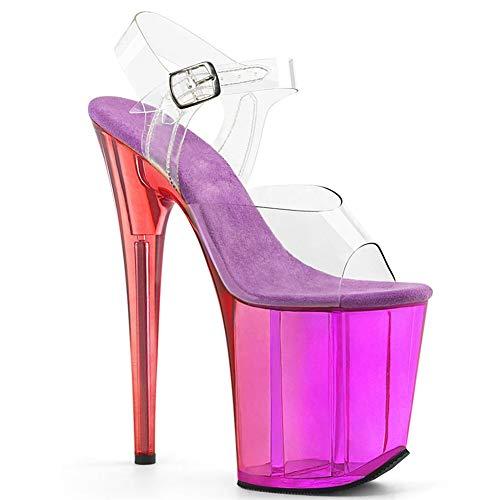 DEAR-JY Damen-Pumps,20CM transparente Sexy Nightclub wasserdichte Plattform Super High Heels Sandalen,Fetisch Absätze Pole Dance Model Catwalk Pump Schuhe,Lila,38.5 EU/6 UK
