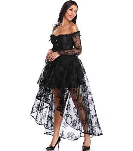 MISS MOLY Steampunk Gothic Korsagenkleid Schwarz Retro Korsett Gerichtsstil Corsage Damen Kostüm Kleid Halloween Cosplay(mit der Korsett und Rock)