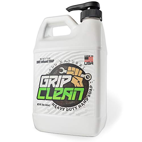 Grip Clean   Hand Cleaner for Auto Mechanics - Heavy Duty Pumice Soap, All Natural & Dirt Infused for Dry Hands