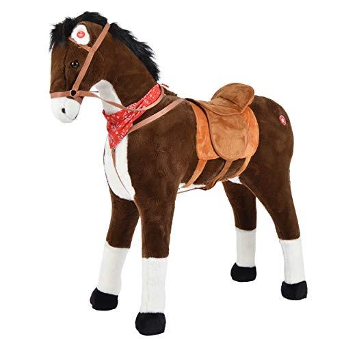 Pink Papaya Plüschpferd XXL 105cm Pferd - Herkules, Fast lebensgroßes Spielpferd zum reiten, Stehpferd XXL, Spielzeug Pferd bis 100kg belastbar - Kinderpferd mit Kleiner Bürste