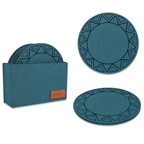mokinu® Filz Untersetzer rund mit Muster - 8er Set inkl. Box – abwaschbare Premium Glasuntersetzer für Getränke, Tassen, Gläser - Petrol