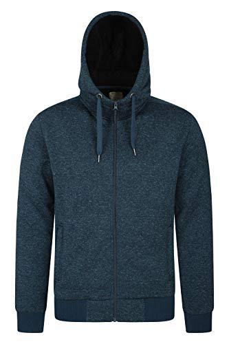Mountain Warehouse Nevis Mens Hoodie Alineado Piel - paño Grueso y Suave Suave Sweatshirt, Capilla Caliente, cómoda, Ajustable y Bolsillos Delanteros relampague, Invierno Azul Oscuro XL