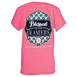 Southern Couture Classic Blessed Grandkids Womens T-Shirt -Safety Pink