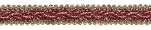 6.4 Meter Value Pack - RED, LIGHT ROSE Baroque Collection Gimp Braid 22mm Style# 0078BG Color: ROSE BOUQUET - 7953