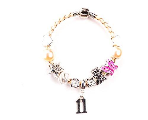 Eleventh Geburtstag Charm Armband für Mädchen in einer Luxus-Geschenkverpackung aus Samt mit einem kostenlosen Geburtstag Karte