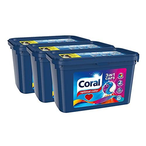 Coral Waschmittel Caps für bunte Wäsche – 54 Waschladungen hygienisch reine Wäsche, extra stark gegen Flecken – Optimal Color 3in1 Caps ( 3 x 18 Caps)