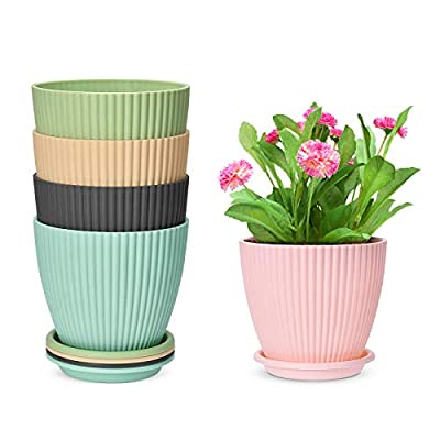 6 Inch Plastic Planters Indoor Set of 5 Flower Plant Pots Modern Decorative Gardening Pot with Drainage for All House Plants, Flowers, Herbs, African Violets, Foliage Plants, Colorful