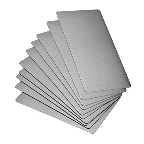 uxcell Blank Metal Card 80x40x0.4mm Brushed 201 Stainless Steel Plate for DIY Laser Printing Engraving Dark Gray 20 Pcs