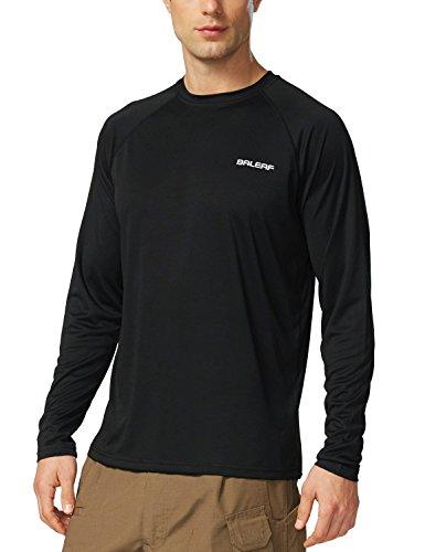 BALEAF Herren UV Shirt Sonnenschutz UPF Langarm Wasser Kleidung Schwarz XL