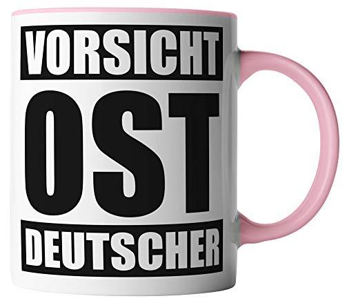 vanVerden Tasse - Vorsicht OST Deutscher - beidseitig Bedruckt - Geschenk Idee Kaffeetassen, Tassenfarbe:Weiß/Rosa