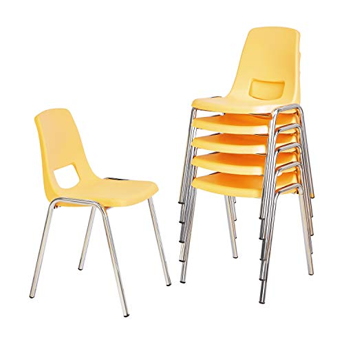 Amazon Basics School Classroom Stack Chair, 16-Inch Seat Height - 6-Pack, Chrome Legs, Yellow