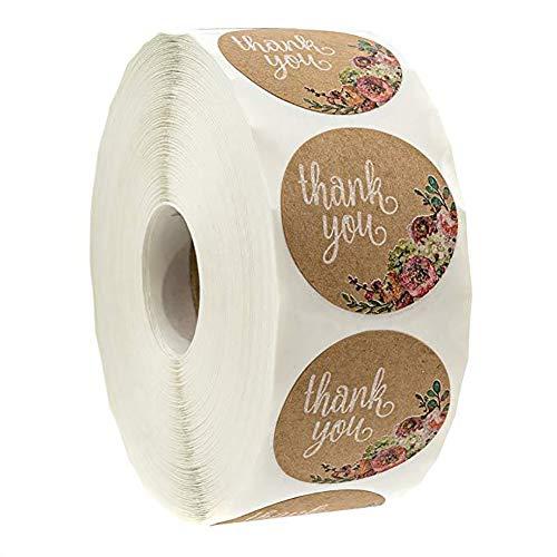 500 pegatinas de papel de estraza autoadhesivas, redondas, estilo vintage, para regalos, regalos, para hornear, bolsas de regalo, tarjetas y sobres de boda
