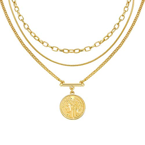 Layered 18k Gold Plated Necklaces for Women - Multilayer Coin Medallion Pendant Necklace Adjustable Layering Choker Necklaces Chain Set for Women Girls Jewelry (3 Layered Necklace -A)