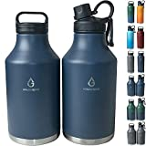 VOLCAROCK Insulated Water Bottle and Beer Growler, Wide Mouth 64 Oz Double Wall Stainless Steel Water Bottle for Hot and Cold Beverages, Leafproof BPA Free and Dishwasher Safe-64 Oz Navy Blue