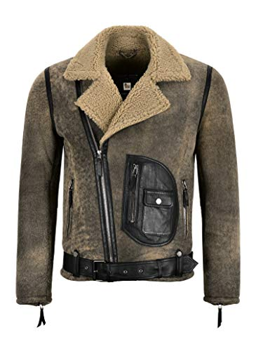 Smart Range Leather Herren RAF B3 Schaffell Jacke Vintage Pilot Flying Real Shearling Jacke Aster (M)