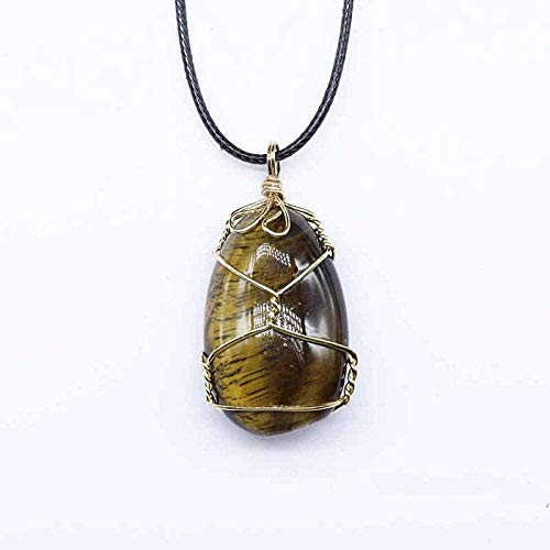 NC188 Collares con Colgante de Piedra para Mujer Collares con Colgante de Ojo de Tigre de Piedra Natural con Gota de Agua Envuelta en Alambre de Oro con Cadena de Cuero
