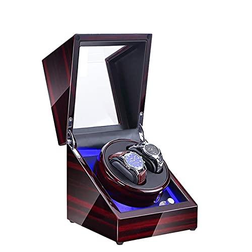 HEZHANG Watch Box Reloj de Madera de Gama Alta Winder 5 Modos 2 Asientos Azul Atmósfera Lámpara Reloj Automático Winders con Función de Parada de Abrigo,C