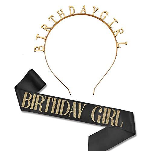REHTRAD Birthday Girl Sash and Crown Tiara,Birthday Girl Crown,Happy Birthday Hair Band for Girls -2 in 1 Set(Rose Gold)