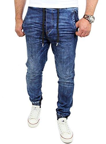 Reslad Jogging-Jeans Männer Freizeit-Hose Casual Style Jeans Jogginghosen Herren Slim Fit Jogger Sweathose Hose RS-2071 Blau XL