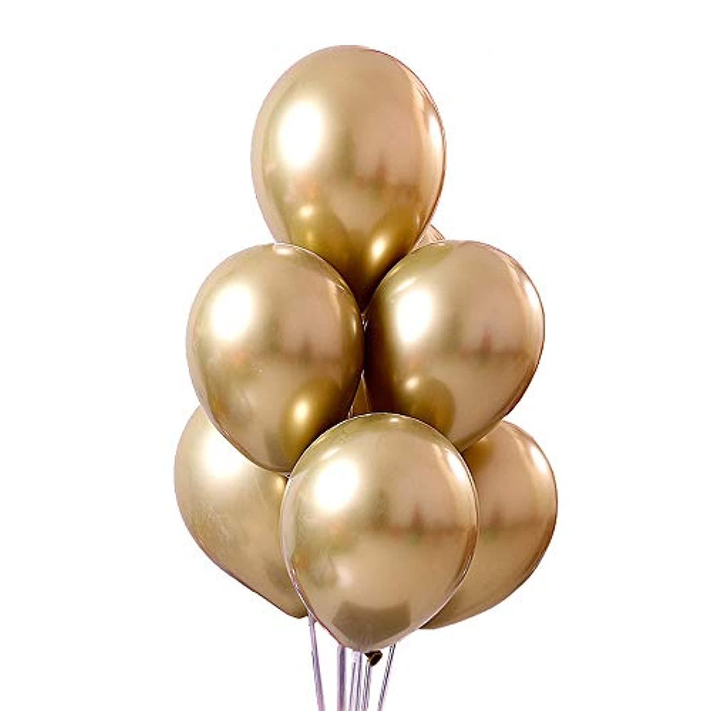 Jurxy 50 PCS Metallic Party Balloons 12'' Glossy Metal Pearl Latex Balloons Thick Pearly Chrome Alloy Inflatable Air Balloons for Birthdays, Bridal Shower - Gold