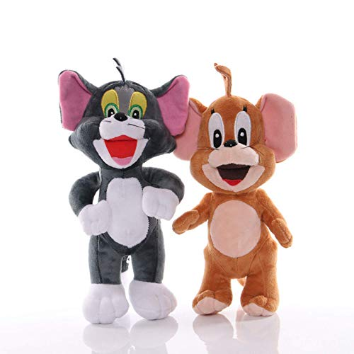 2PCS/Lot Tom Cat Plush Toy Jerry Mouse Kawaii Soft Stuffed Dolls Cartoon Animal Cats Brinquedos Peluche For Kids Gifts