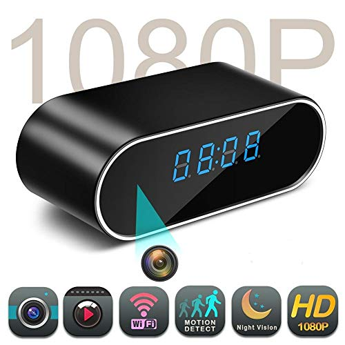 FiveSky 1080P HD Reloj Despertador WiFi Red Espía Cámara Mini DV Videocámara Portátil Grabador de Vídeo Soporte Android iPhone App Vista Remota