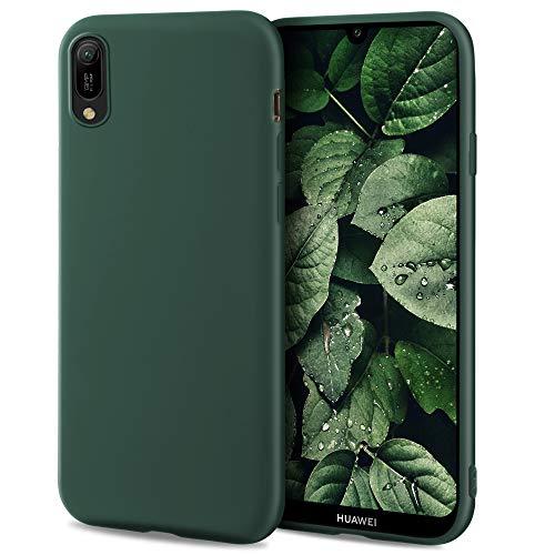 Moozy Minimalist Series Funda Silicona para Huawei Y6 2019, Verde Oscuro con Acabado Mate, Cover Carcasa de TPU Suave y Fina