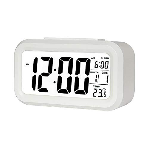 Digital Alarm Clock,5.6' LED Display Clocks Snooze Activated Night Light with Date Calendar Temperature for Bedroom Home Office Kitchen (white)