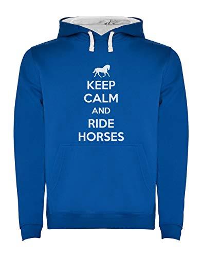 Green Turtle T-Shirts Sudadera con Capucha para Hombre - Keep Calm and Ride Horses - Regalo Original para los Amantes de los Caballos y la Equitación Small Azul