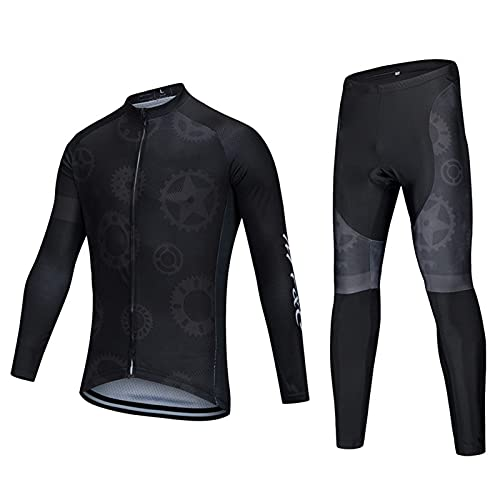 Bicycle Cycling Jersey & Pants Mens Long Sleeve Bike Running Suit Summer Jacket Breathable with 9D Gel Cushion,Black,S