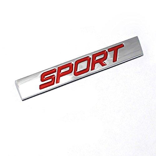 DSYCAR 3D Metall Auto Dekoration Metallkleber SPORT Auto Lkw Abzeichen Emblem Aufkleber für Universal Cars Motorrad Fahrrad Auto Styling Dekorative Zubehör (Silber-Rot)