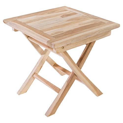 MACOShopde by MACO Möbel Beistelltisch aus massivem Teak Holz wetterfest für Garten, Balkon und Terrasse – Quadratischer Holztisch 50 x 50 cm