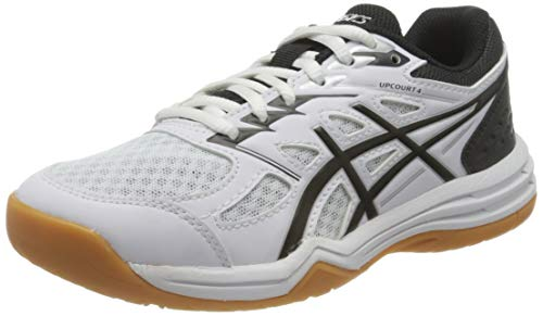 ASICS Unisex-Child Upcourt Volleyball Shoe, White/Black, 38 EU