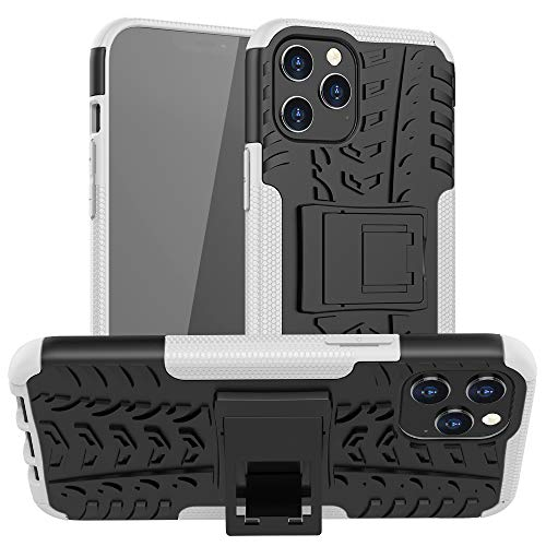 Ankoe for iPhone 12 Pro Max Case, Heavy Duty Hybrid Slim Dual Layer Rugged Rubber Hybrid Hard/Soft Impact Armor Defender Protective Case with Kickstand for iPhone 12 Pro Max, 6.7 inch (White)