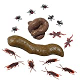 SHENZHENDAKANG Fake Poop 2 Pack,Prank Gift,2 Realistic Poop Designs, with 6 Pcs Fake Roaches,6 Fake Fly Flies and 2 Lizards,Fake turd for Real Laughs,Perfect Gag Gift