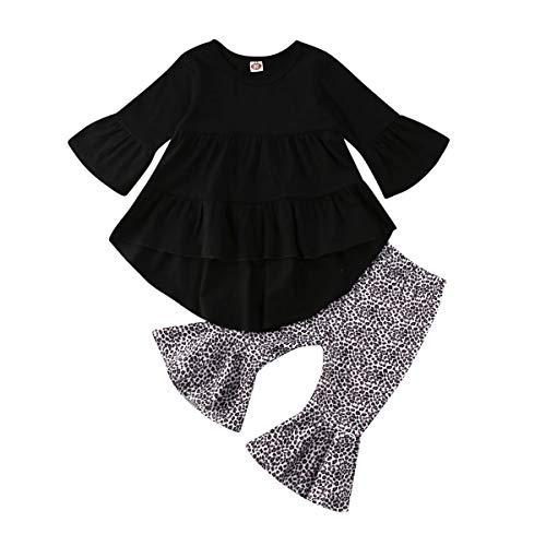 Hnyenmcko Peuter Kids Baby Meisje Kleding Lange Mouw Ruche Top Jurk Flare Broek Legging Outfit Kleding Set