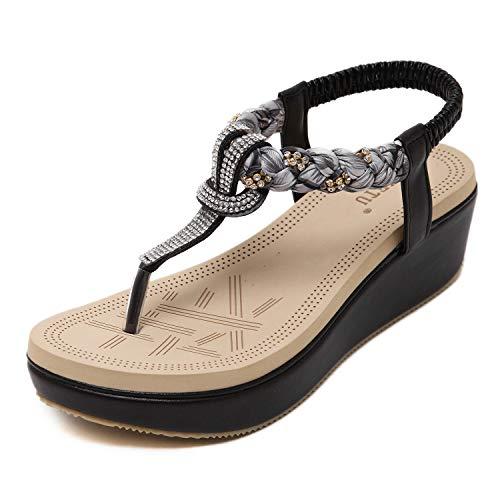 ZAPZEAL Sommer Sandalen Böhmischer Stil Absätz Schuhe Damen Sandalen Antirutsch Komfortabel Frauen Flip Flops Schuhe,Schwarz 40 EU