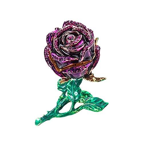 Creativa caja de joyería de aleación con diseño de flor de rosa, con diamantes de imitación