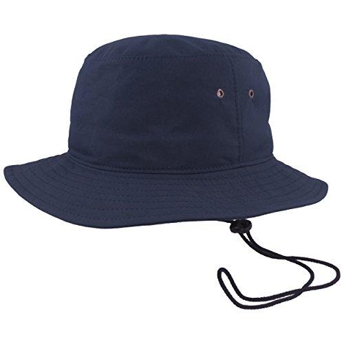 Breiter Outdoor Fischer-Hut | Bucket-Hat | Sonnen-Hut – mit Kinnband - UV Schutz 40+, COOL MAX ® Technologie, Waschbar, Ultra Leicht – Marine - Gr. 61